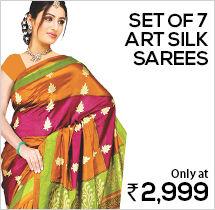 Set of 7 Art Silk Sarees