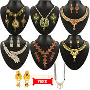 Kriaa Combo of 6 Jewellery Set With Free Payal Manglasutra & Ring