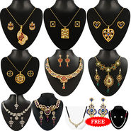 Kriaa Combo of 8 Jewellery Set With Free Pearl Mala Set Mangalsutra & Earring