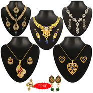 Kriaa Combo of 5 Jewellery Set With Free Earring & Ring