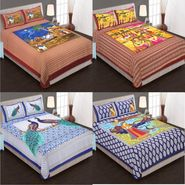 Set of 4 King Size Cotton Jaipuri Sanganeri Printed Bedsheets With 8 Pillow Covers-B4C5