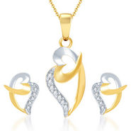 Sukkhi Stylish Gold and Rhodium Plated CZ Pendant Set