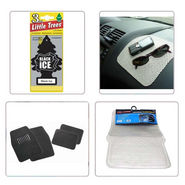 Combo of Car Carpet Mats + Transparent Mat + Non Slip Dash Mat + Hanging Perfume