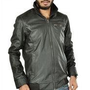Branded Plain Full Sleeves Leatherite Jacket For Men - Black