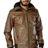 Branded Plain Full Sleeves Leatherite Jacket For Men - Brown