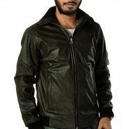 Branded Plain Full Sleeves Leatherite Jacket For Men - Black - 12464499