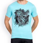 Incynk Half Sleeves Printed Cotton Tshirt For Men_Mht201aq - Aqua