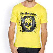 Incynk Half Sleeves Printed Cotton Tshirt For Men_Mht204yl - Yellow