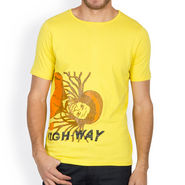 Incynk Half Sleeves Printed Cotton Tshirt For Men_Mht209yl - Yellow