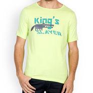 Incynk Half Sleeves Printed Cotton Tshirt For Men_Mht211p - Pista