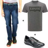 Combo of Levis (Blue) Denim, T Shirt (Grey) and Shoe (Black)