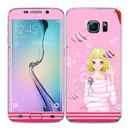 Snooky 41861 Digital Print Mobile Skin Sticker For Samsung Galaxy S6 Edge - Pink