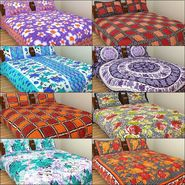 GRJ INDIA Pure Cotton Floral Print 8 Double BedSheet With 16 Pillow Covers-GRJ-8DB-573
