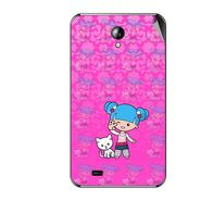 Snooky 42561 Digital Print Mobile Skin Sticker For Micromax Superfone A101 - Pink