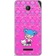 Snooky 42825 Digital Print Mobile Skin Sticker For Micromax Canvas Spark Q380 - Pink