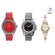 Combo of 3 Oleva Analog Wrist Watches For Women_Ovd174
