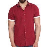 Branded Linen Casual Shirt_Zara03 - Maroon