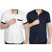 Pack of 2 Stylox Cotton Shirts_3133 - White & Navy