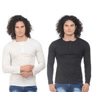 Pack of 2 Plain Regular Fit Tshirts_Htvrofwbk - White & Black