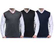 Pack of 3 Plain Sleeveless V Neck Sweaters For Men_Zs02