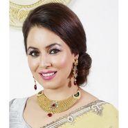 Kriaa Mithya Antique Gold Finish Kundan Meenakari Maroon Drop Necklace Set_2000502