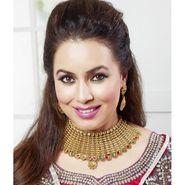Kriaa Mithya Choker Design Maroon & Green Gold Finish Necklace Set_2000509