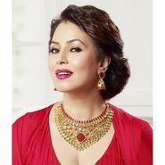 Kriaa Mithya Appealing Design Choker Pink Kundan Austrian Stone Necklace_2000513