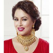 Kriaa Mithya Elegant Design Gold Plated Austrain Stone Kundan Necklace Set_2000514