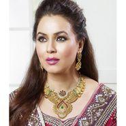 Kriaa Mithya Antique Gold Finish Maroon & Green Austrian Diamond Stone Necklace Set_2000520