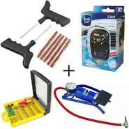 Combo of Powerful Foot Pump + Jackly JK-6032 32in1 Screwdriver set + Ambipur Car A/C vent Perfume-Pacific + Tyre Puncture Repair Kit