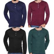 Pack of 4 Rico Sordi Full Sleeves Cotton Henley Tshirts_Rshpk04