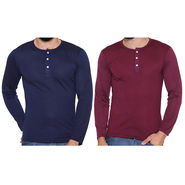 Pack of 2 Rico Sordi Full Sleeves Cotton Henley Tshirts_Rsh0104 - Maroon & Navy