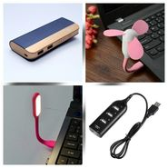 Combo of Zync (PB999 Elegant 10400 mAh Powerbank + USB Hub + USB LED  Light + USB Fan) - Navy Blue