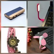 Combo of Zync (PB999 Elegant 10400 mAh Powerbank + Watch + USB LED Light + USB Fan) - Navy Blue