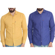 Pack of 2 Pelican Slim Fit Cotton Shirts For Men_Cs0304 - Yellow & Blue