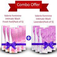 Valerie Combo Of 10 Feminine Intimate Wash - 5 Fresh Feel & 5 Lavender