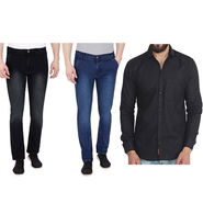 Combo of 2 Pelican Stretchable Slim Fit Jeans + 1 Cotton Shirt_Pjcs01