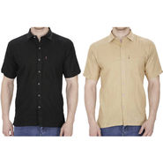 Pack of 2 Fizzaro Plain Linen Casual Shirts_Fz104109 - Black & Beige