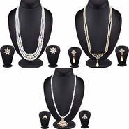 Combo of 3 Beautiful Pearl Necklace Set Studded with AD Stone_Cm399