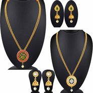 Set of 2 Spargz Gold Plated Antique Long Necklace Wedding Collection Jewellery_Cm570