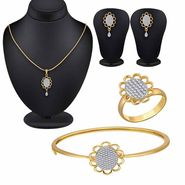 Spargz Stylish Floral CZ Stone Gold Plated Pendant Set Kada & Studded Ring_Cm503