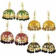 Spargz Combo of 4 Pair Traditional Meenakari Jhumki Earrings_Cm557