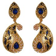Kriaa Paisley Design Pearl Meenakari Earrings _1303119