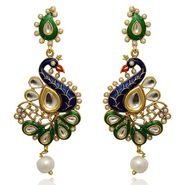 Kriaa Kundan Meenakari Peacock Finish Earrings _1305402