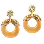 Kriaa Austrian Stone Resin Circle Finish Earrings _1305709