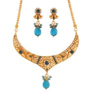 Variation Party Wear Blue Necklace Set_Vd15925