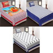 Set of 3 Jaipuri Cotton Single King Size Bedsheets With 3 Pillow Covers -100C7