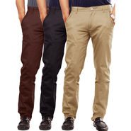 Pack Of 3 Cotton Lycra Slim Fit Chinos-UB-13