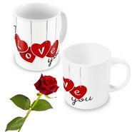 I Love You Coffee Mugs Pair n Rose Valentine Gift 502