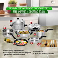 7 Pcs Induction Friendly Cookware Set + Free Knife Set + Chopping Board - AKSO